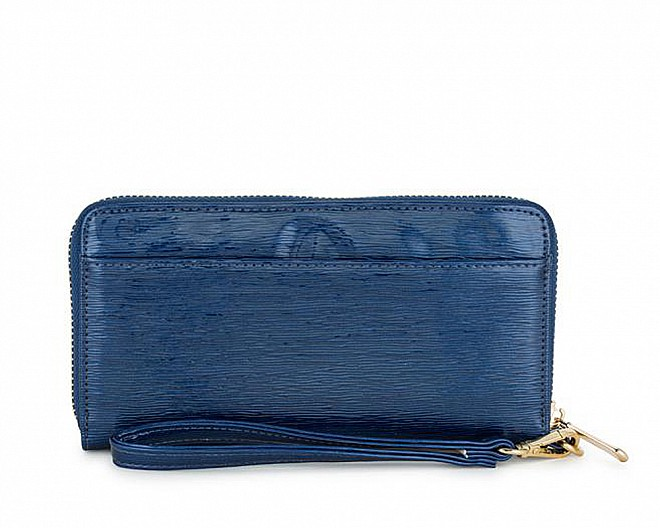 Lori Navy Faux Textured Leather Clutch